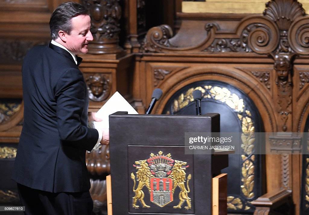 British Prime Minister David Cameron steps up to speak during the Matthiae-Mahr Dinner in Hamburg, northern Germany on February 12, 2016. / AFP / CARMEN JASPERSEN