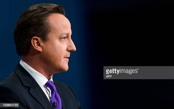 British Prime Minister David Cameron talks about his late son Ivan during his keynote address on the fourth day of the annual Conservative Party...