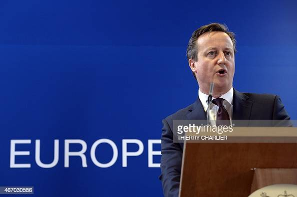 British Prime Minister David Cameron talks to media on March 20 2015 at the end of a European Union summit at the EU Council building in Brussels AFP...