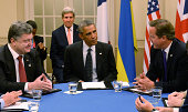 British Prime Minister David Cameron US President Barack Obama and Ukrainian President Petro Poroshenko attend the NATO Summit on September 4 2014 in...