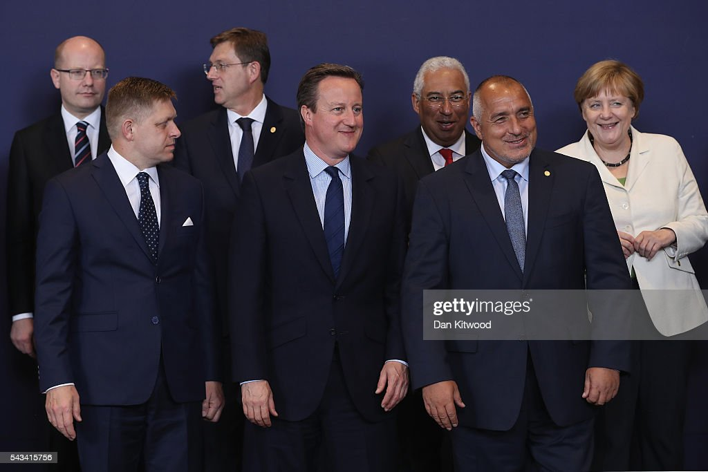 British Prime Minister <a gi-track='captionPersonalityLinkClicked' href=/galleries/search?phrase=David+Cameron+-+Politician&family=editorial&specificpeople=227076 ng-click='$event.stopPropagation()'>David Cameron</a> (centre) waits for the group family photo with the European Council during a European Council Meeting at the Council of the European Union on June 28, 2016 in Brussels, Belgium. British Prime Minister <a gi-track='captionPersonalityLinkClicked' href=/galleries/search?phrase=David+Cameron+-+Politician&family=editorial&specificpeople=227076 ng-click='$event.stopPropagation()'>David Cameron</a> will hold talks with other EU leaders in what will likely be his final scheduled meeting with the full European Council before he stands down as Prime Minister. The meetings come at a time of economic and political uncertainty following the referendum result last week which saw the UK vote to leave the European Union.