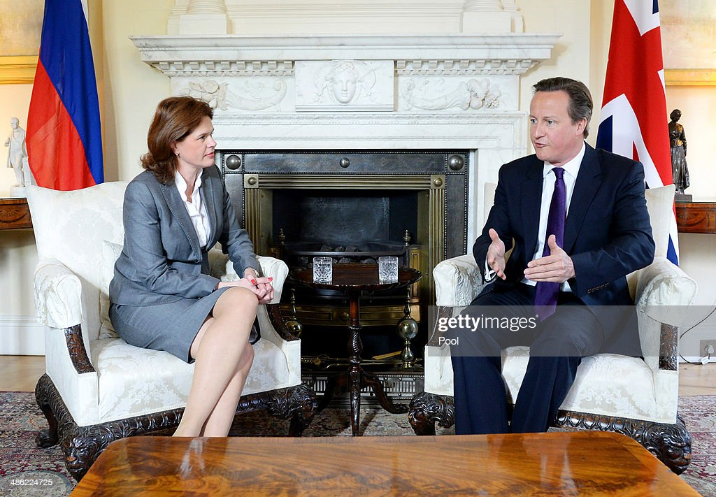 British Prime Minister David Cameron (R) welcomes the Prime Minister of the Republic of Slovenia, Alenka Bratusek to 10 Downing Street on April 23 in London, England. Bratusek is on a two-day visit to London.