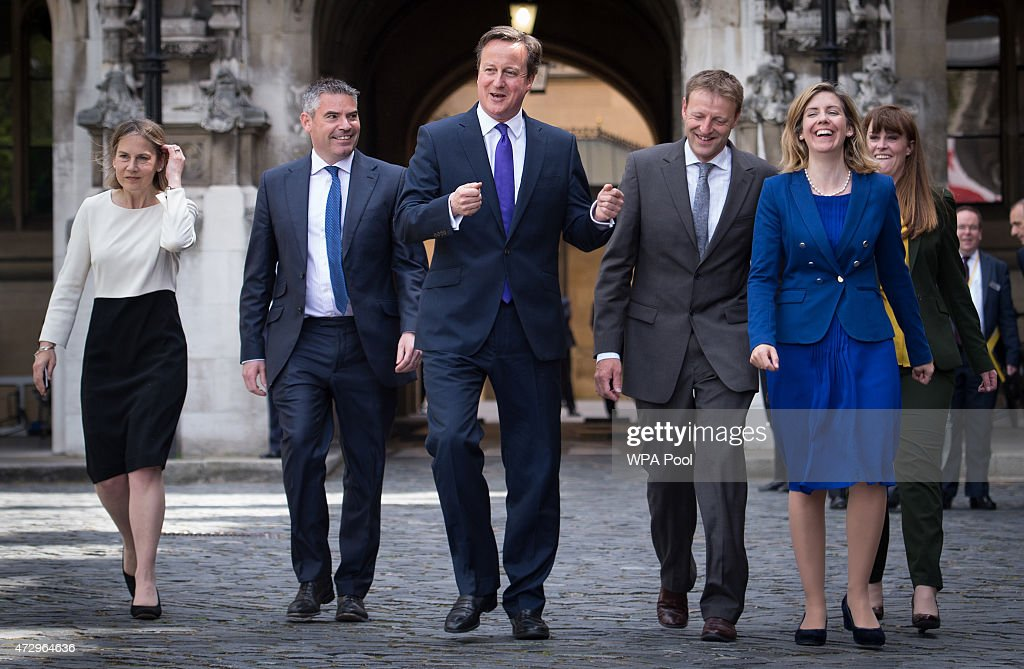British Prime Minister David Cameron with newly elected Conservative Party MPs Tania Mathias Craig Tracey Derek Thomas Andrea Jenkyns and Kelly...