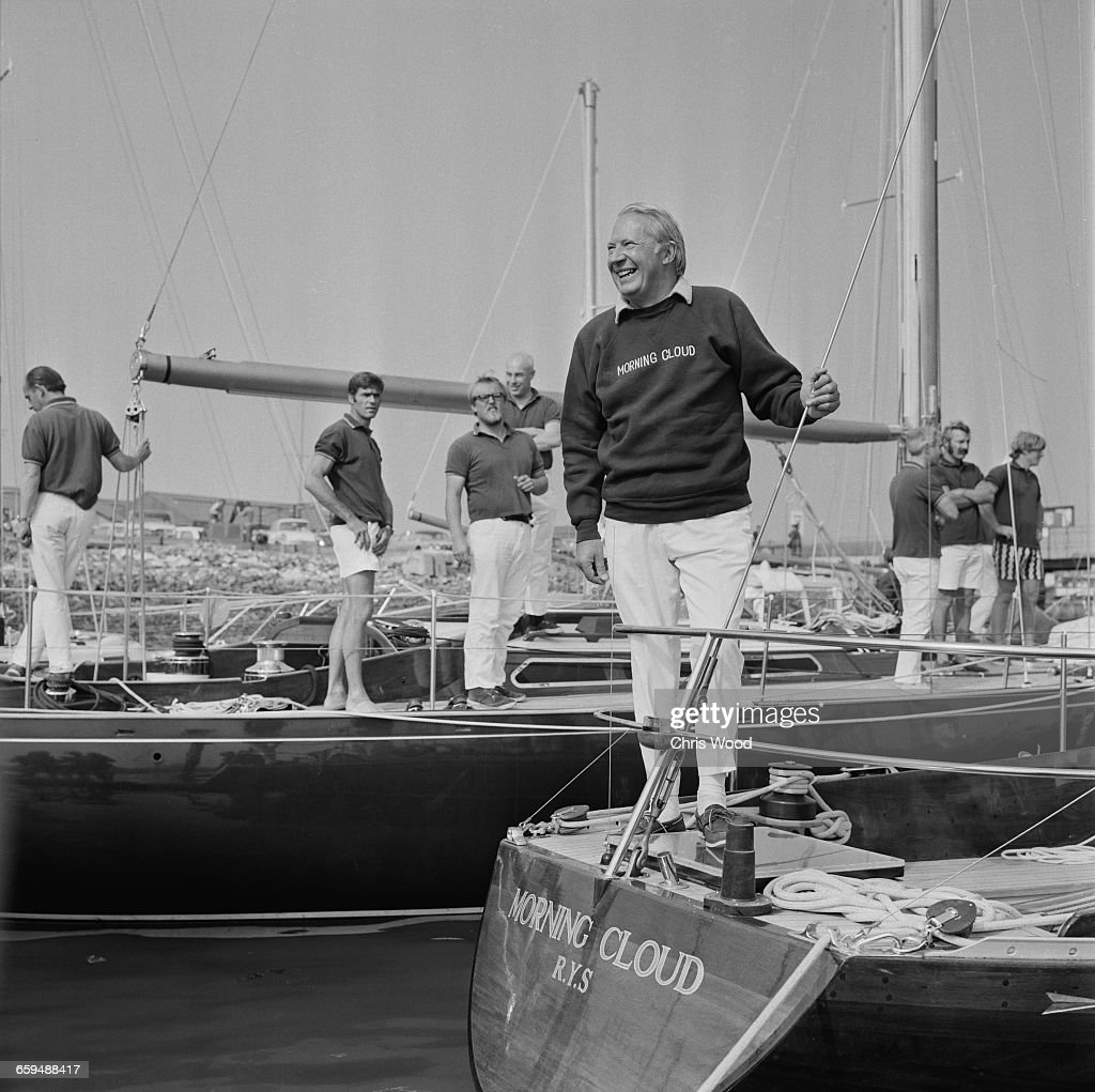 British Prime Minister Edward Heath aboard his yacht 'Morning Cloud' UK 10th July 1971