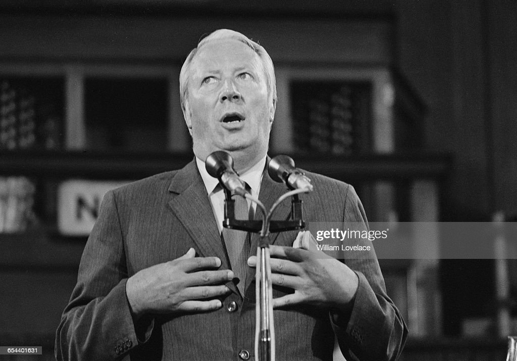 British Prime Minister Edward Heath addresses a meeting of the Conservative Central Council on Britain's entry into the Common Market UK 17th July...