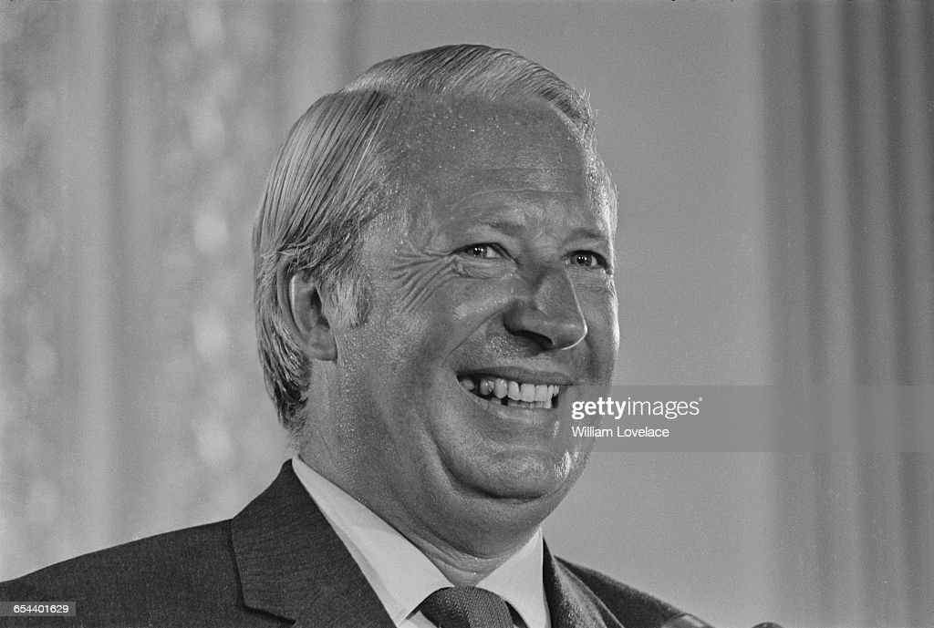 British Prime Minister Edward Heath at a world press conference on Britain's entry into the Common Market 12th July 1971