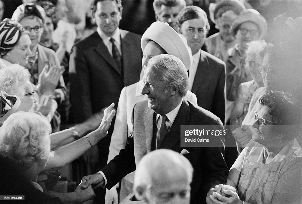 British Prime Minister Edward Heath attends the Conservative Women's Conference at Westminster Hal in London UK 19th May 1971