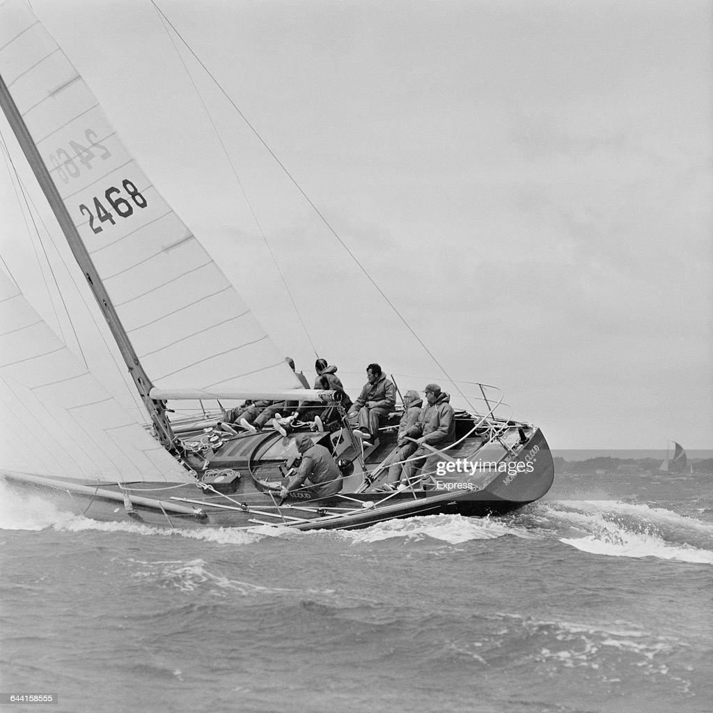 British Prime Minister Edward Heath sailing his yacht 'Morning Cloud' off the Isle of Wight UK 20th June 1971