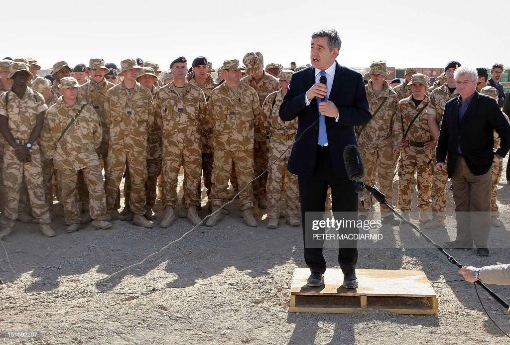 British Prime Minister Gordon Brown addresses troops at Camp Bastion in Afghanistan 10 December 2007 Gordon Brown met British troops in Afghanistan...