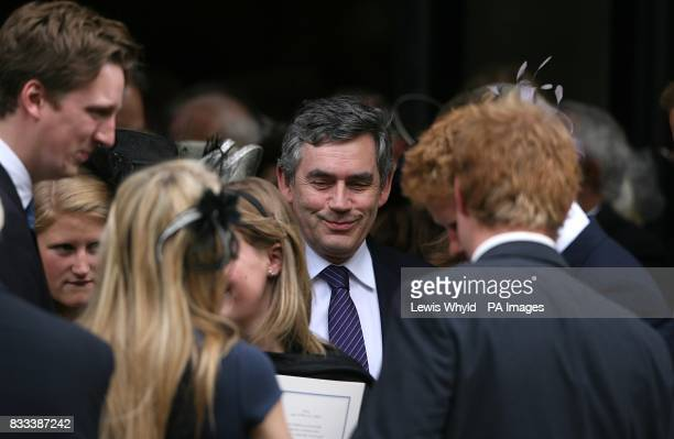 British Prime Minister Gordon Brown after the Service of Thanksgiving for the life of Diana Princess of Wales at the Guards' Chapel London PRESS...