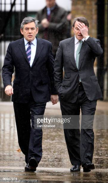 British Prime Minister Gordon Brown and Business Secretary Peter Mandelson arrive at the Saatchi Gallery on February 22 2010 in London England Mr...