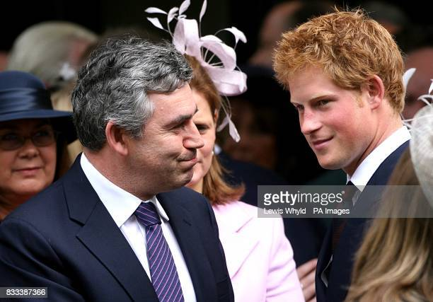 British Prime Minister Gordon Brown and Prince Harry after the Service of Thanksgiving for the life of Diana Princess of Wales at the Guards' Chapel...