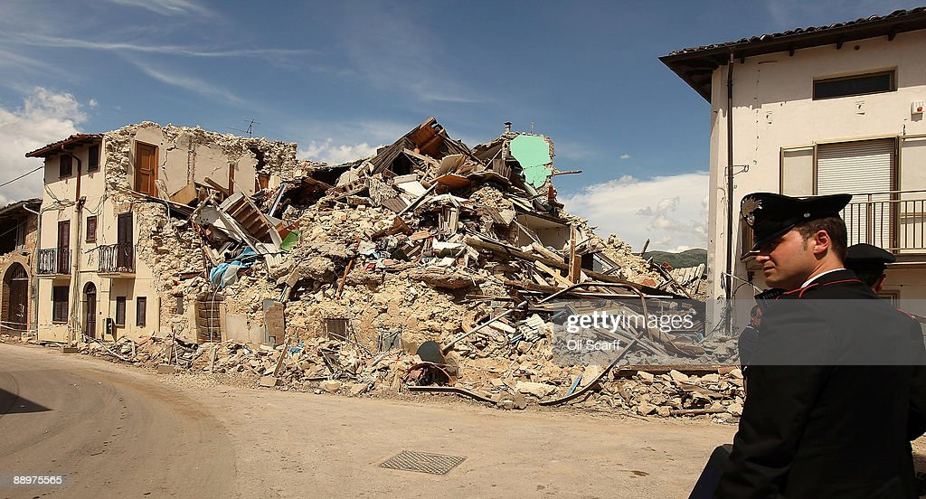 L'AQUILA ITALY JULY 10 British Prime Minister Gordon Brown and Sarah Brown visited the earthquakedamaged town of Onna with Johanna GriffithJones at...
