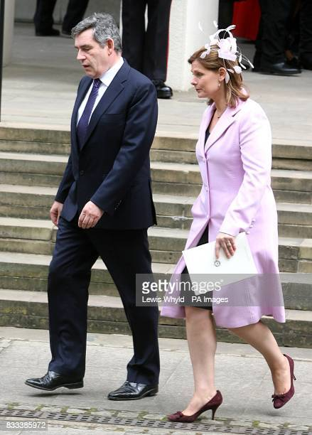 British Prime Minister Gordon Brown and wife Sarah leave the Service of Thanksgiving for the life of Diana Princess of Wales at the Guards' Chapel...