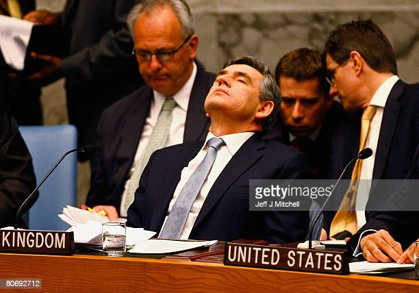 British Prime Minister Gordon Brown attends a security council meeting at the United Nations April 16 2008 in New York City The Prime Minister will...