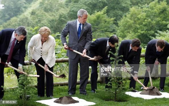 British Prime Minister Gordon Brown German Chancellor Angela Merkel US President George W Bush Japanese Prime Minister Yasuo Fukuda French President...