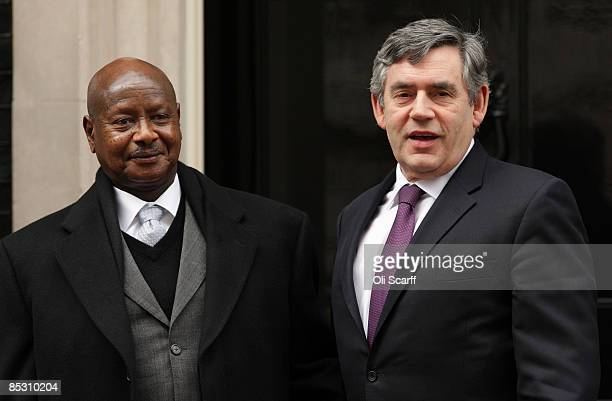 British Prime Minister Gordon Brown greets the president of Uganda Yoweri Museveni on the steps of Number 10 Downing Street on March 9 2009 in London...