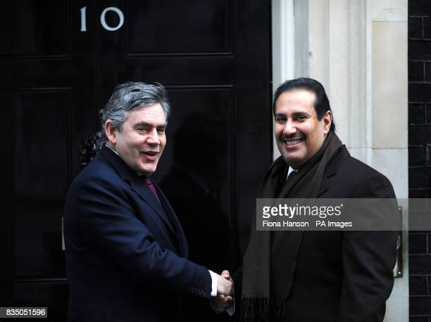 British Prime Minister Gordon Brown greets the Prime Minister of Qatar Hamad bin Jassim bin Jaber Al Thani outside 10 Downing Street London