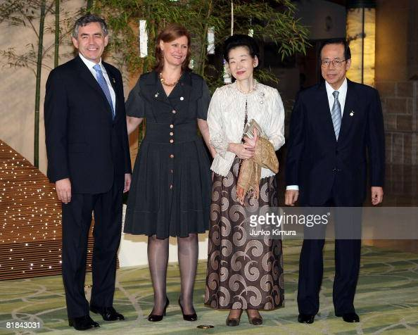 British Prime Minister Gordon Brown his wife Sarah Brown Japanese Prime Minister Yasuo Fukuda and his wife Kiyoko Fukuda pose for photographs during...