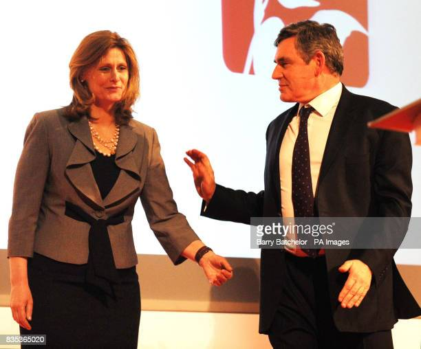British Prime Minister Gordon Brown is joined by his wife Sarah as he addresses the Welsh Labour Conference in Swansea