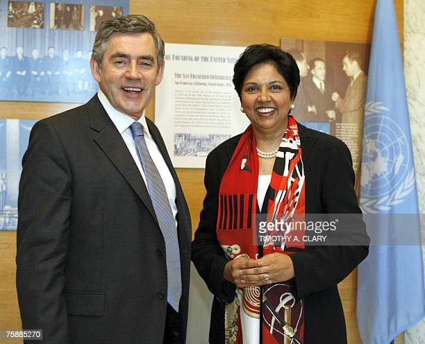 British Prime Minister Gordon Brown meets with Indra K Nooyi CEO of Pepsi Co after his meeting with UN Secretary General Ban Kimoon at the United...