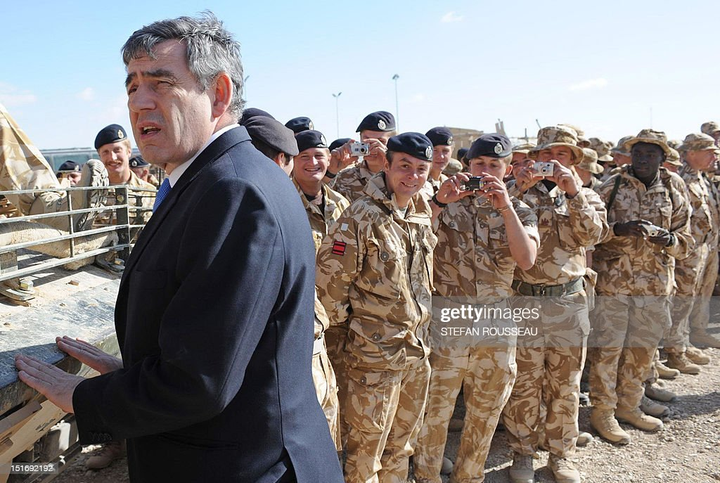 British Prime Minister Gordon Brown meets with troops at Camp Bastion in Afghanistan 10 December 2007 Gordon Brown met British troops in Afghanistan...