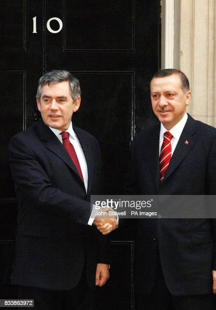 British Prime Minister Gordon Brown shakes hands with his Turkish counterpart Recep Tayyip Erdogan outside number 10 Downing Street this morning