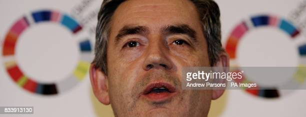 British Prime Minister Gordon Brown speaks at an event on global entrepreneurship linking young British entrepreneurs with foreign counterparts at...