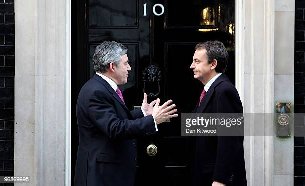 British Prime Minister Gordon Brown speaks with Spanish Prime Minister Jose Luis Rodriguez Zapatero at Downing Street after a meeting on February 19...