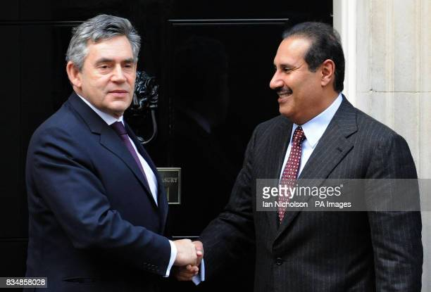 British Prime Minister Gordon Brown welcomes Qatar Prime Minister Sheikh Hamad bin Jassim al Thani on his arrival at No10 Downing Street
