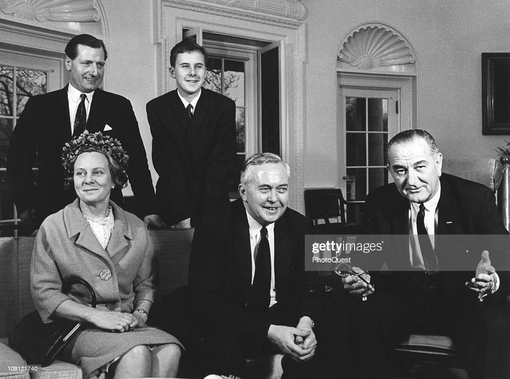 British Prime Minister <a gi-track='captionPersonalityLinkClicked' href=/galleries/search?phrase=Harold+Wilson&family=editorial&specificpeople=202136 ng-click='$event.stopPropagation()'>Harold Wilson</a> (1916 - 1995) (center) and his wife, poet <a gi-track='captionPersonalityLinkClicked' href=/galleries/search?phrase=Mary+Wilson&family=editorial&specificpeople=217769 ng-click='$event.stopPropagation()'>Mary Wilson</a>, Lady Wilson of Rievaulx (born Gladys Mary Baldwin), sit with US President <a gi-track='captionPersonalityLinkClicked' href=/galleries/search?phrase=Lyndon+Johnson&family=editorial&specificpeople=91450 ng-click='$event.stopPropagation()'>Lyndon Johnson</a> (1908 - 1973) in the Oval Office at the White House, Washington DC, March 2, 1964.