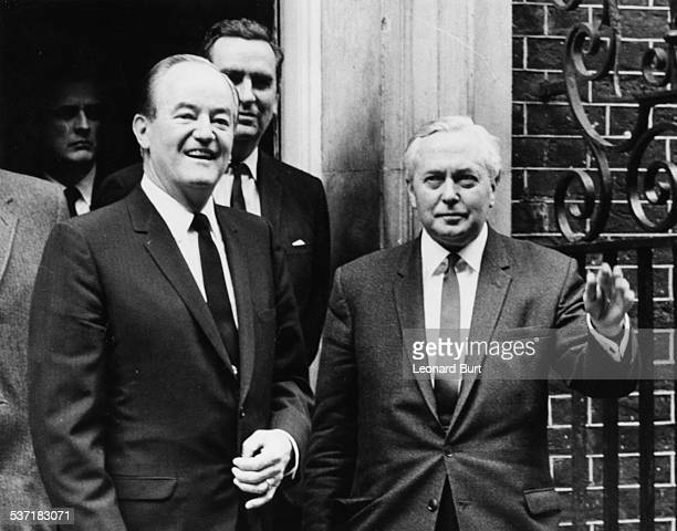 British Prime Minister Harold Wilson and US VicePresident Hubert Humphrey smiling outside 10 Downing Street London April 4th 1967