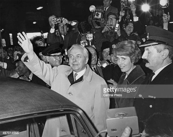 British Prime Minister Harold Wilson leaving Euston Station London on his return from Liverpool where he retained his Huyton seat in the general...