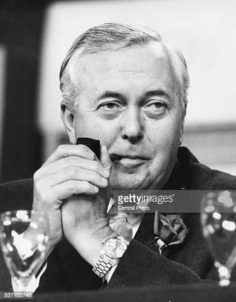 British Prime Minister Harold Wilson smoking his pipe at the 68th Annual Conference of the Labour Party Brighton September 29th 1969