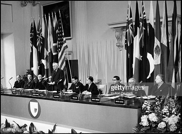 British Prime Minister Harold Wilson speaks at the opening ceremony of the Southeast Asia Treaty Organization Council of Ministers Seated from left...