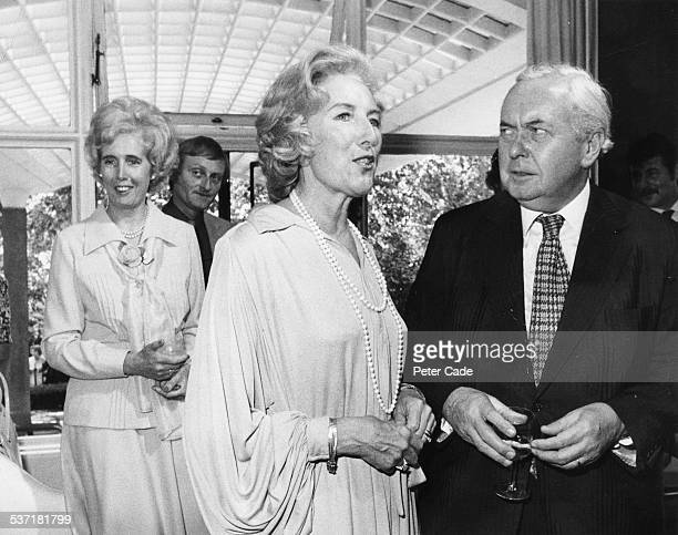 British Prime Minister Harold Wilson talking to singer Vera Lynn at a Variety Club luncheon at the Savoy Hotel London July 22nd 1975