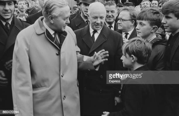 British Prime Minister Harold Wilson visits Millwall FC with Chairman Micky Purser Bermondsey London UK 21st March 1967