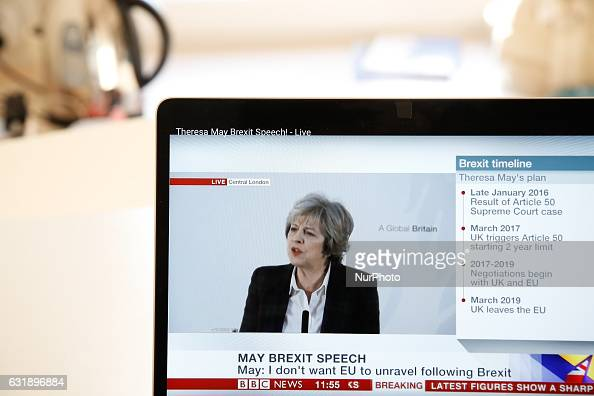 British Prime Minister is seen holding her press conference on 17 January 2017 on the governments long anticipated Brexit plan following the...