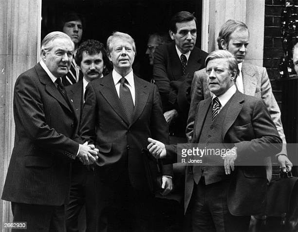 British Prime Minister James Callaghan American statesman Jimmy Carter 39th President of the United States and Chancellor of West Germany Helmut...