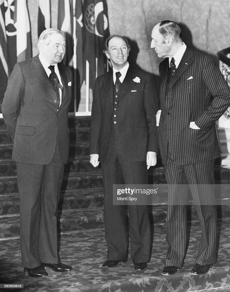 British Prime Minister James Callaghan Canadian Prime Minister Pierre Trudeau and Dr Joseph Luns the SecretaryGeneral at a meeting at Lancaster House...