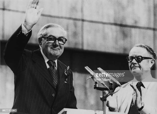 British Prime Minister James Callaghan receives a standing ovation after addressing the second day of the Labour Party Conference at the new...