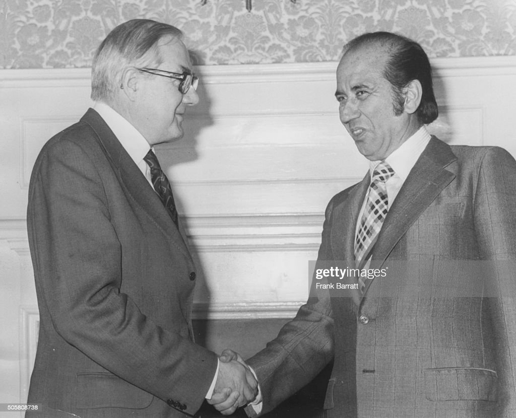 British Prime Minister James Callaghan shaking hands with President Carlos Andres Perez of Venezuela at 10 Downing Street London November 22nd 1976