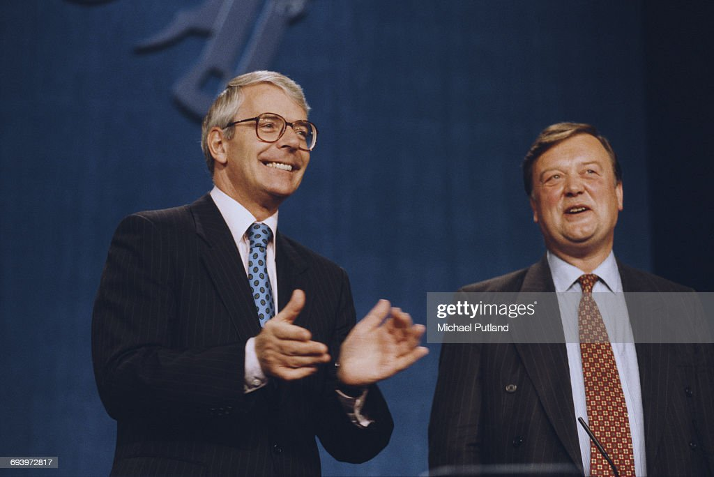 British Prime Minister John Major (left) and Chancellor of the Exchequer, Kenneth Clarke at The Conservative Party Conference in Bournemouth, Dorset, October 1994.