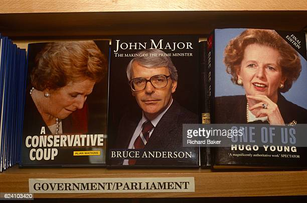 British Prime Minister John Major and his political predecessor Margaret Thatcher adorn the covers of their respective biographies on sale in the...