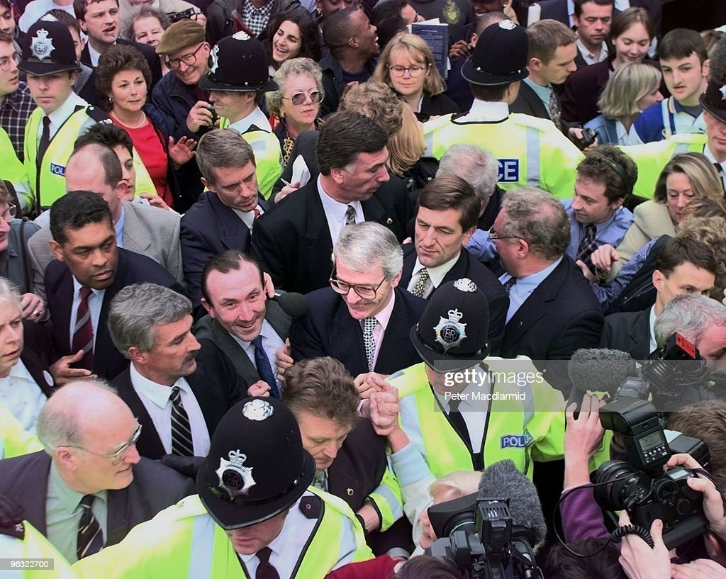 British Prime Minister John Major on his first day of campaigning for the General Election in central Luton 17th March 1997