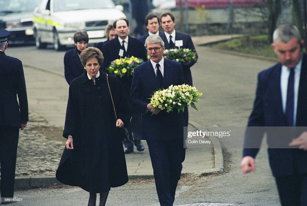 British Prime Minister John Major visits Dunblane in Scotland to show his support after the massacre at Dunblane Primary School in which 17 people...