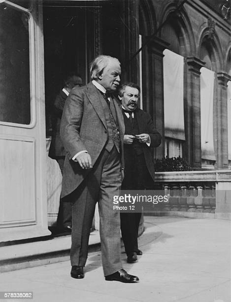 British Prime Minister Lloyd George and French President of the Council Aristide Briand leaving the Supreme Council at the Quai d'Orsay in Paris...