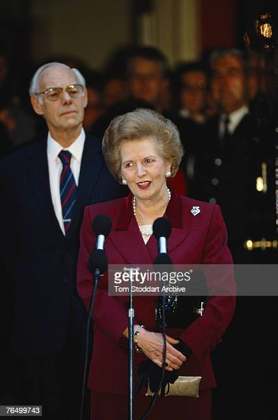 British Prime Minister Margaret Thatcher addresses the press outside Number 10 Downing Street after her resignation 28th November 1990 Her husband...
