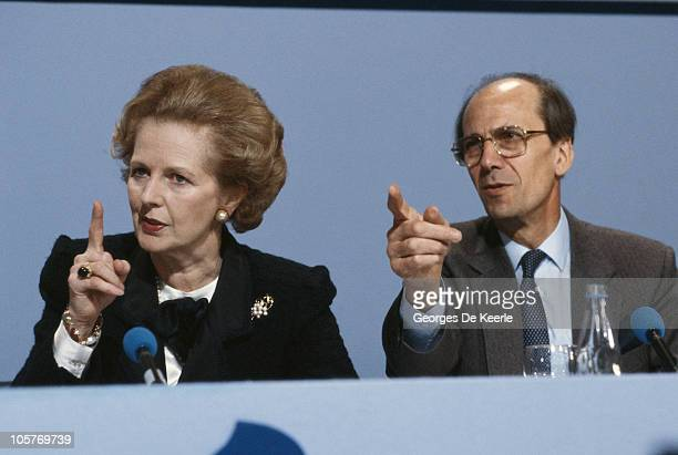 British Prime Minister Margaret Thatcher and Conservative Party Chairman Norman Tebbit campaigning on the eve of the UK general election 10th June...