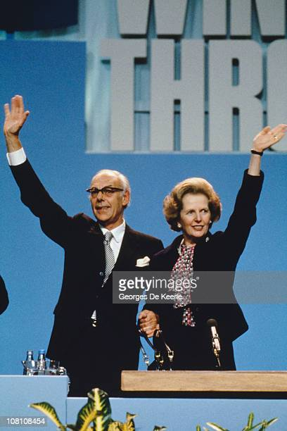 British Prime Minister Margaret Thatcher and her husband Denis at the Conservative Party Conference in Brighton the morning after the bombing of the...
